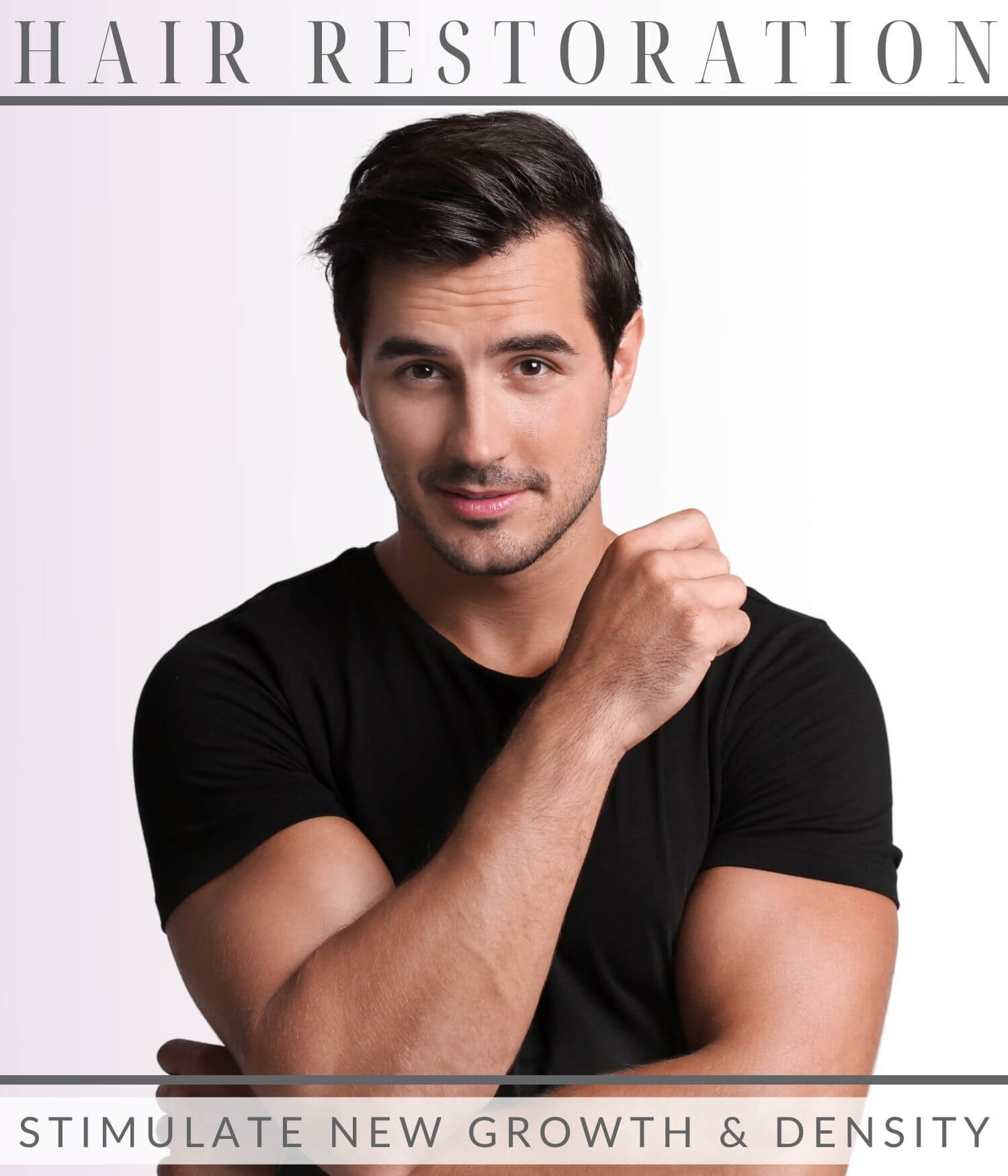 Man with thick hair from hair restoration treatment at CRMC Aesthetics